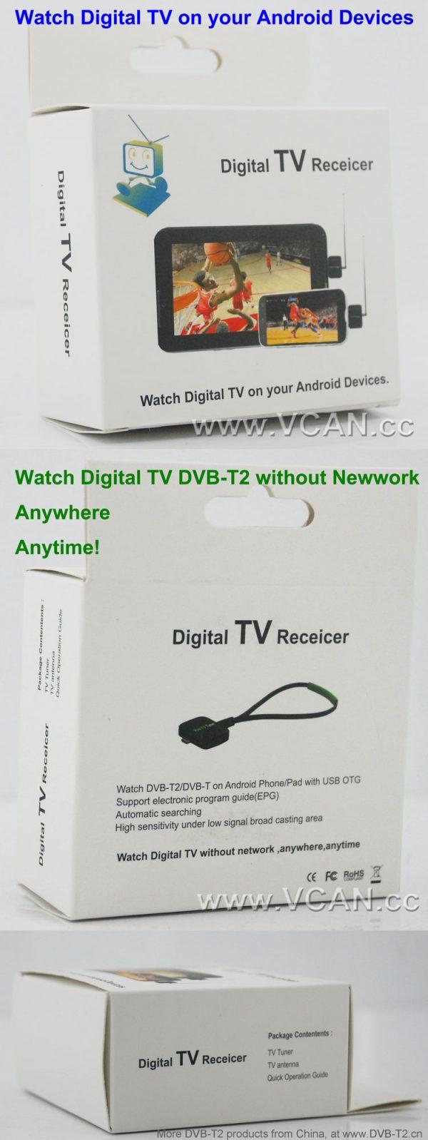 DVB-T2S Micro USB Digital DVB-T DVB-T2 TV Tuner Receiver 4 -