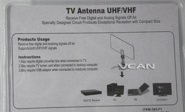 Digital TV DVB-T2 UHF/VHF Flat antenna for home use 4 -