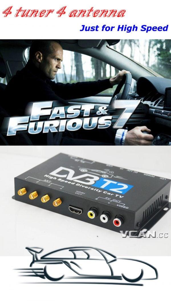 Car DVB-T2 TV Receiver 4 Tuner 4 Antenna USB HDMI HDTV Russia High Speed 4 -
