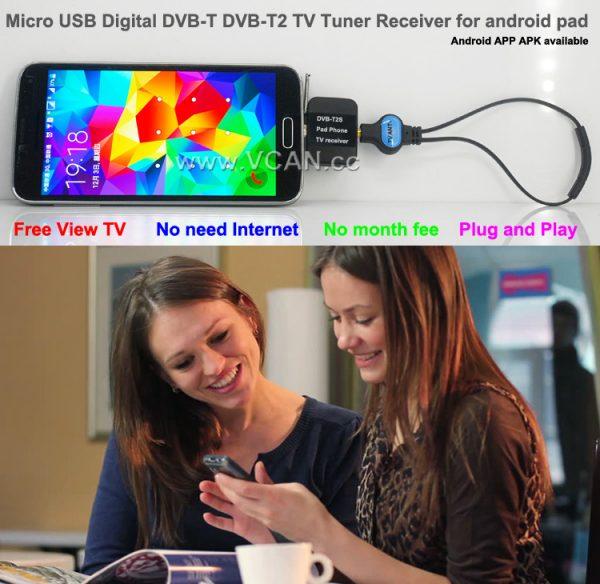 DVB-T2S Micro USB Digital DVB-T DVB-T2 TV Tuner Receiver 5 -