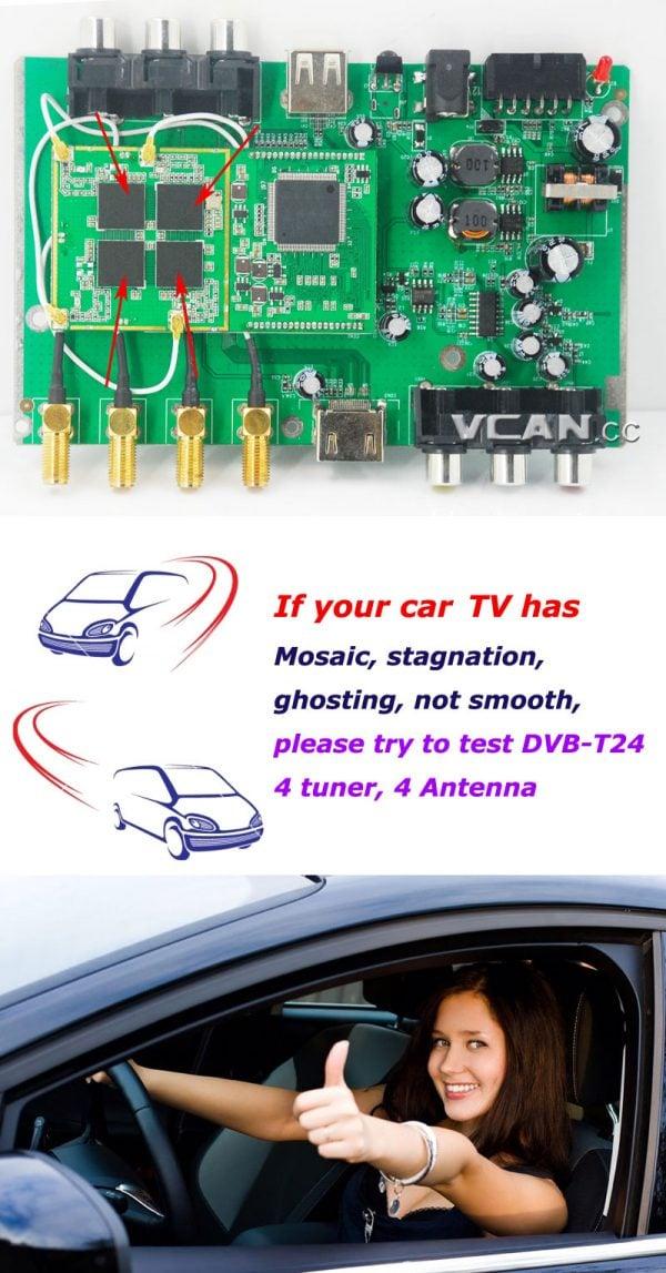 Car DVB-T2 TV Receiver 4 Tuner 4 Antenna USB HDMI HDTV Russia High Speed 5 -