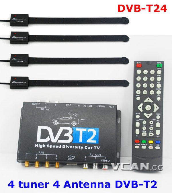 DVB-T24 Car DVB-T2 TV Receiver 4 Tuner 4 Antenna 6 -
