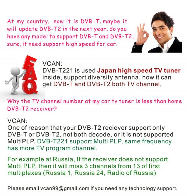 Car DVB-T2 DVB-T MULTI PLP Digital TV Receiver 7 -