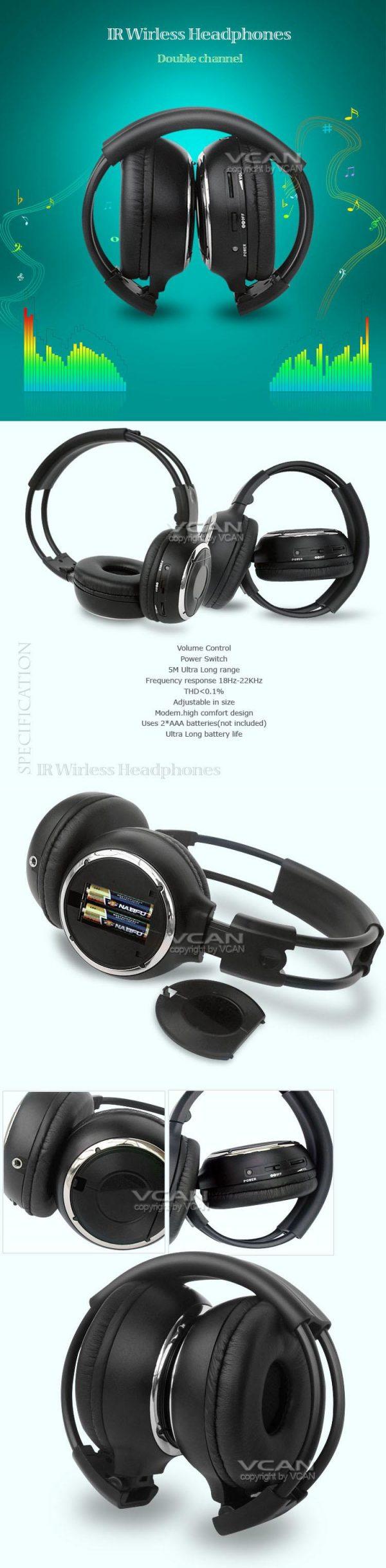 car wireless IR stereo TV headphone 8 -