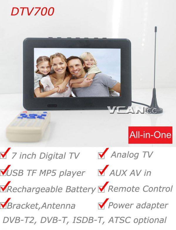 7 inch Digital TV Analog TV USB TF MP5 player 1 -