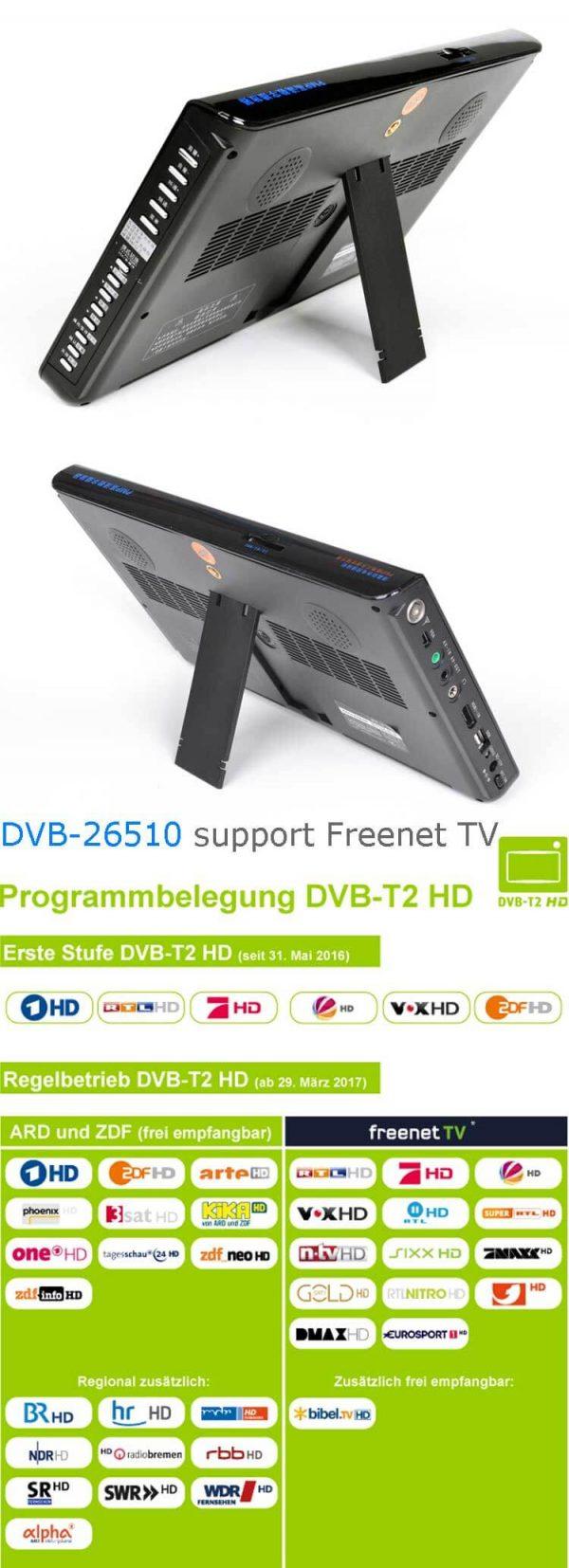 10 DVB-T2 H265 HEVC AC3 Codec Portable TV PVR Multimedia Player Analog kitchen bedroom car DVB-T26510 2 -
