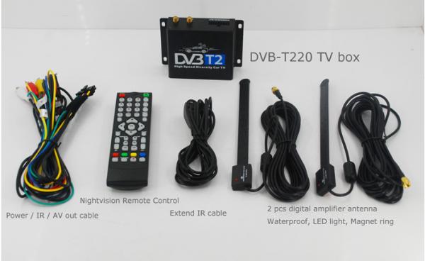 Car DVB-T2 Digital TV receiver two tuner dual antenna high speed 6 -
