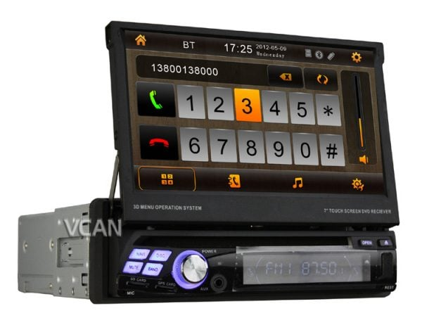 VCAN0777 Car One Din DVD /TV/Radio/USD/SD while navigation GPS Multimedia System with touch screen,bluetooth 1 -