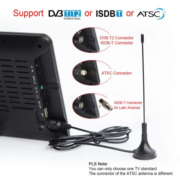 9 inch Portable ISDB-T TV TDT Digital and Analog mini small Car Television Support USB TF PVR MP4 H.265 AC3 DTV900 1 -